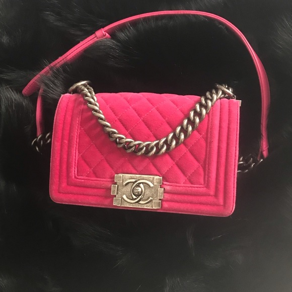 651711bd0b1 CHANEL Bags   Rare Pink Velvet Boy Bag Silver Hardware   Poshmark
